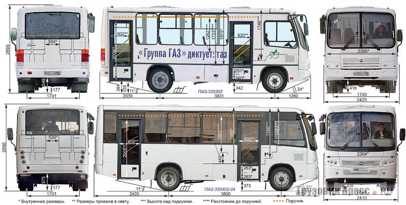 ПАЗ-320302 (сверху) ПАЗ-320402-40 (снизу)
