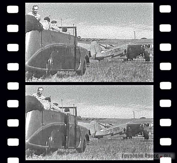 Кадры из кинофильма «Боксёры». Видны правый борт открытого автобуса НАТИ-ЗИС и расположение в нём дверей. Москва, 1940–1941 гг.