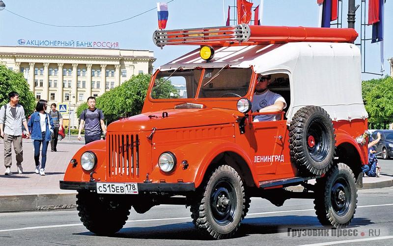 [b]ГАЗ-69 ПМГ-20.[/b] Пожарный ГАЗ-69 ПМГ-20. Единственный в СССР пожарный автомобиль такого класса служил для доставки пожарной команды с оборудованием к месту пожара, а также для быстрой подачи воды и пены, для чего автомобиль был оснащён центробежным пожарным насосом