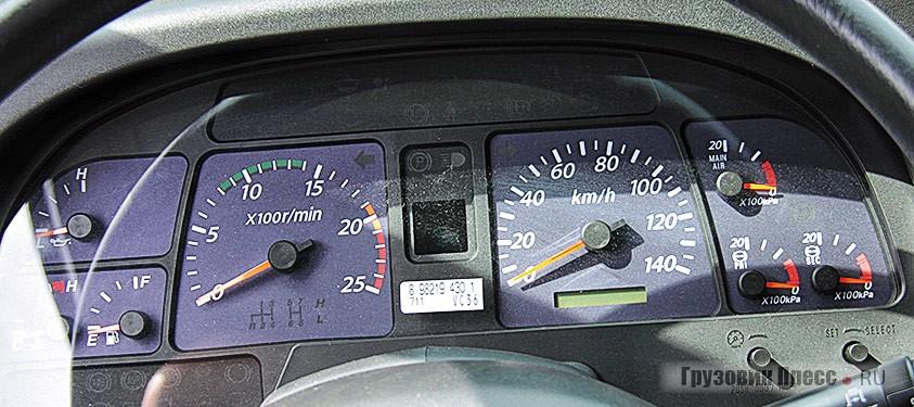 Рабочее место типично для японского грузовика, комбинация приборов вполне информативна.
