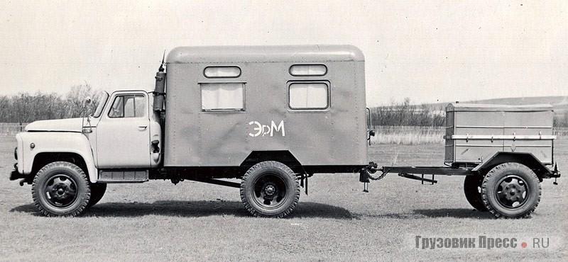 Мастерская МТП-817МЭ на шасси ГАЗ-52-04 первых выпусков с надписью на борту «ЭРМ» (электроремонтная мастерская). 1976 г.