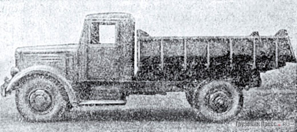 МАЗ-205 с кузовом ковшового типа без козырька изготовления Правобережного авторемзавода «Куйбышевгидростроя». Наружные задние колёса отсутствуют. 1957 г.