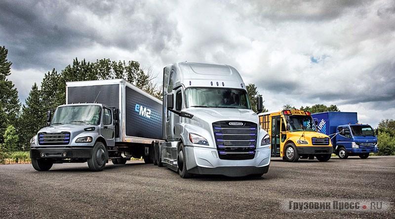 Готовые решения DTNA для Канады и США: среднетоннажник Freightliner eM2, полстеллар eCascadia, школьный автобус Thomas Self-T-Liner C2 Electric и развозной фургон Fuso e-Canter