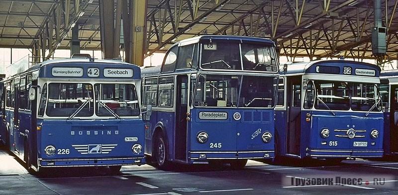 Женевский историк и фотограф Андре Кнёрр застал один из последних FBW/Tüscher Hochlenkbus в автобусном депо VBZ в Цюрихе-Эрликоне в 1982 г. уже без регистрационных номеров. Слева Büssing, справа Saurer – обе машины с кузовами производства завода Schindler Waggon AG