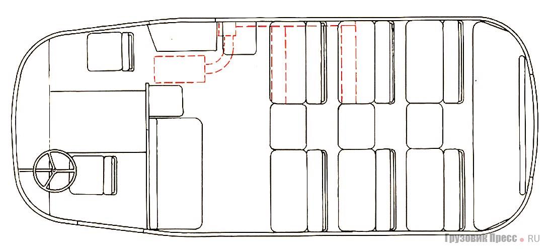 Компоновка салона АВ-7. Пунктиром обозначен расположенный под полом отопитель
