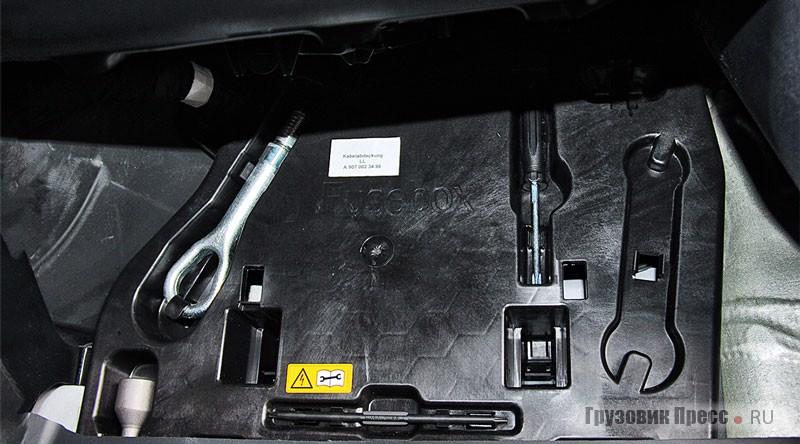 Инструменты и буксировочная проушина размещены справа под полом…