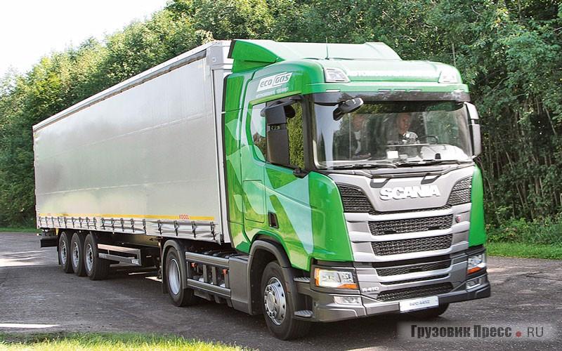 Седельный тягач Scania R410 A4x2 CNG. Оснащён двигателем OC13 101 410 hp (Euro 6) и КП GRS905R с системой автоматического переключения передач Opticruise