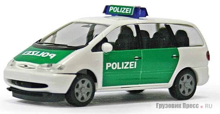 Уменьшенный в 87 раз минивэн [b]Ford Galaxy Polizei Deutschland[/b] от фирмы Herpa (#042949)