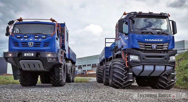 «Габарит» КАМАЗ-6345-3101 (слева) с кабиной К3 и «негабарит» КАМАЗ-6355 (справа)