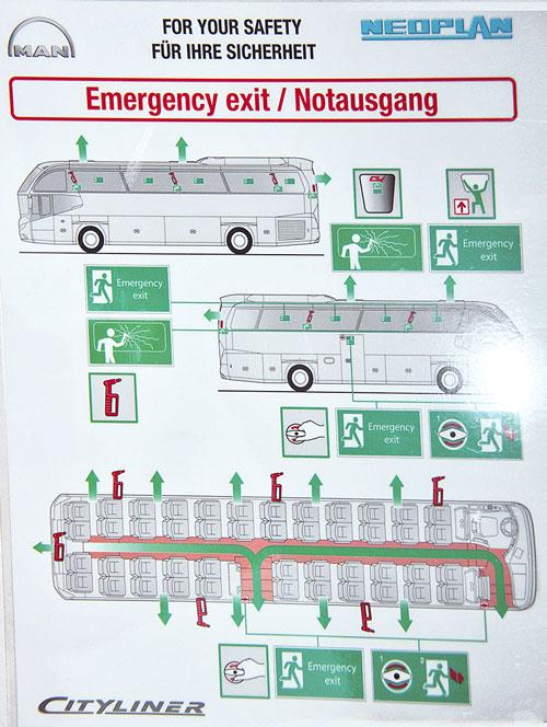 Хороший тон заботы о безопасности пассажиров: в кармашках кресел инструкции по безопасности, по аналогии с гражданской авиацией