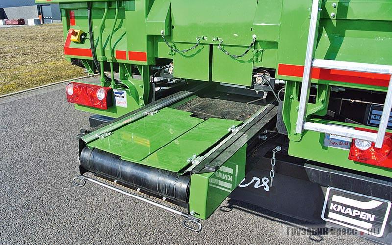 Задний гидрофицированный борт Knapen Trailers может быть оборудован раздатчиком с транспортёрной лентой