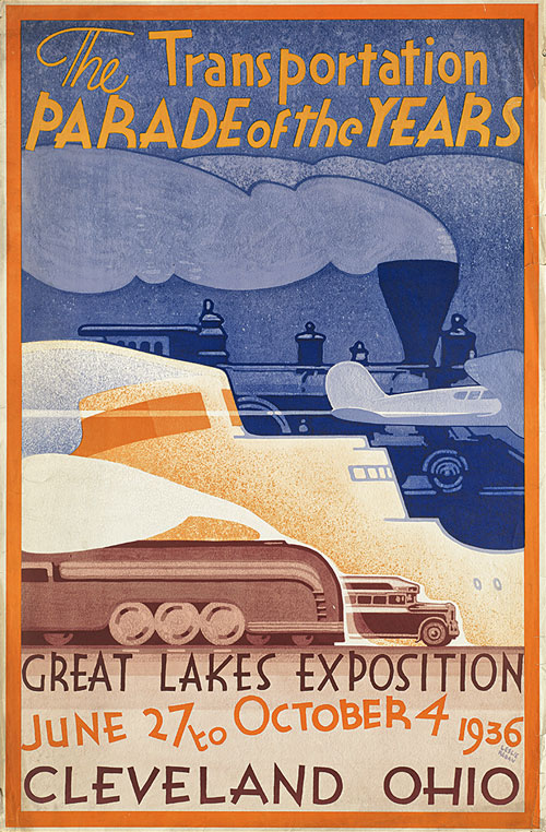Плакат выставки The Great Lakes Exposition (27 мая – 4 октября 1936 г.) в Кливленде (штат Огайо)