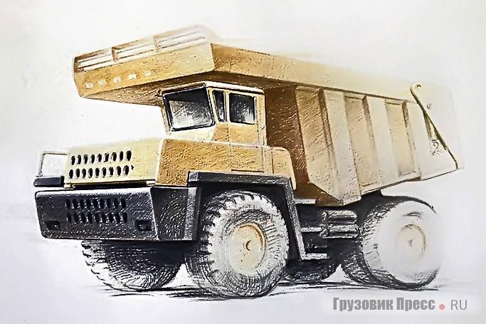 Поисковые эскизы различных БелАЗов (грузоподъёмность 40–120 т). Автор: В.С. Кобылинский
