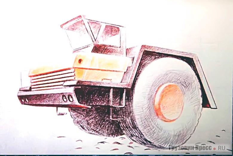Поисковые эскизы одноосных тягачей БелАЗ. Автор: В.С. Кобылинский
