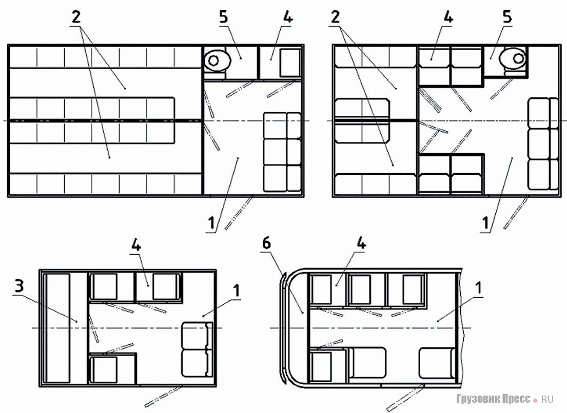 Примеры планировки современных спецавтомобилей «АЗ» поПР78.01.0024–2016: 1– помещение конвоя; 2, 3– общие камеры; 4–одиночная камера; 5– туалетная кабина (может быть совмещена содиночной камерой); 6– вспомогательный отсек. На правой верхней схеме– смешанная планировка, появившаяся только в2010-х годах